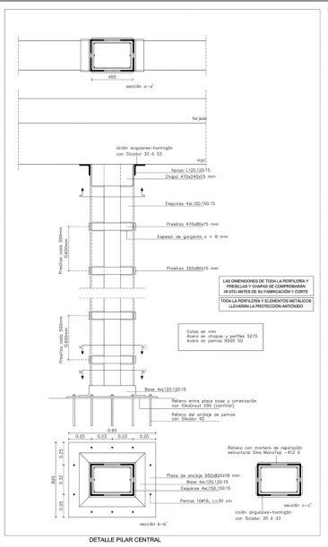 Refuerzo de pilares en Massamagrell detalle constructivo empresillado
