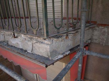 Rehabilitacion de fachada en Alicante daños en canto de forjado