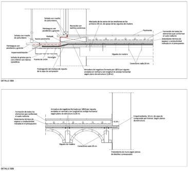Rehabilitacion integral de vivienda en El Cabanyal detalle constructivo refuerzo forjado de madera