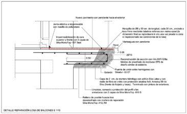 Rehabilitacion de fachada en Valencia detalle constructivo reconstrucción forjado de balcon